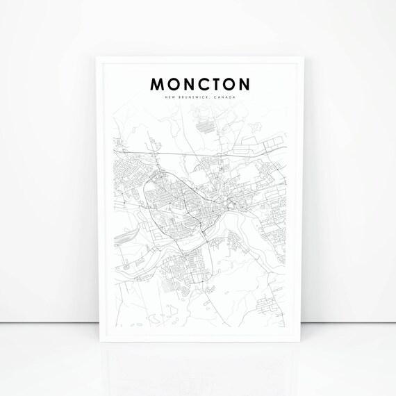 Moncton Map Print New Brunswick Nb Canada Map Art Poster Etsy