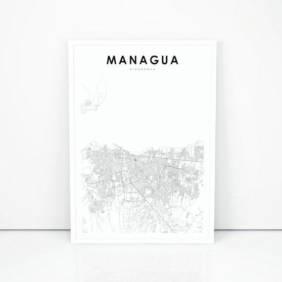 Managua Map Print Nicaragua Map Art Poster City Street Road Map Print Nursery Room Wall Office Decor Printable Map
