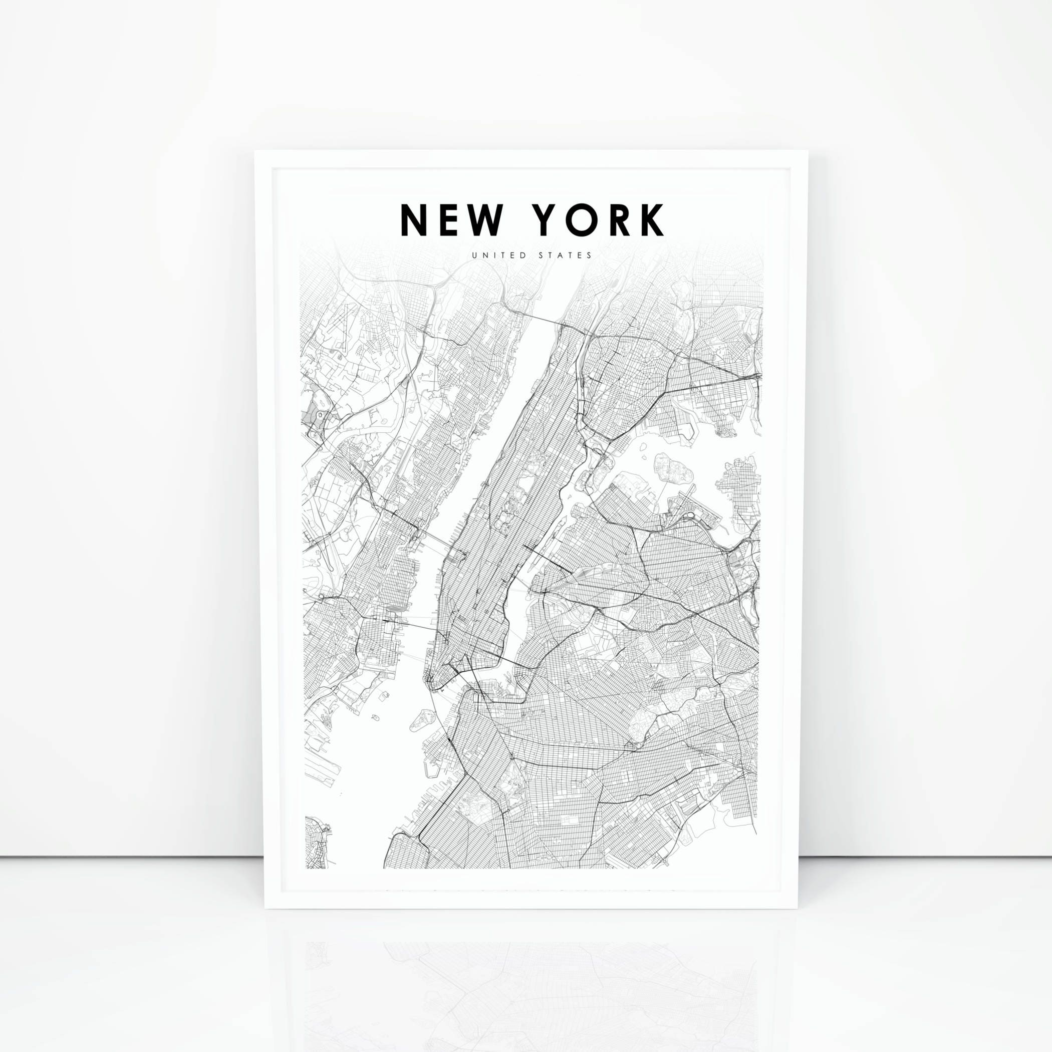 New York On Usa Map.New York Map Print New York City Nyc Ny Usa Map Art Poster Etsy