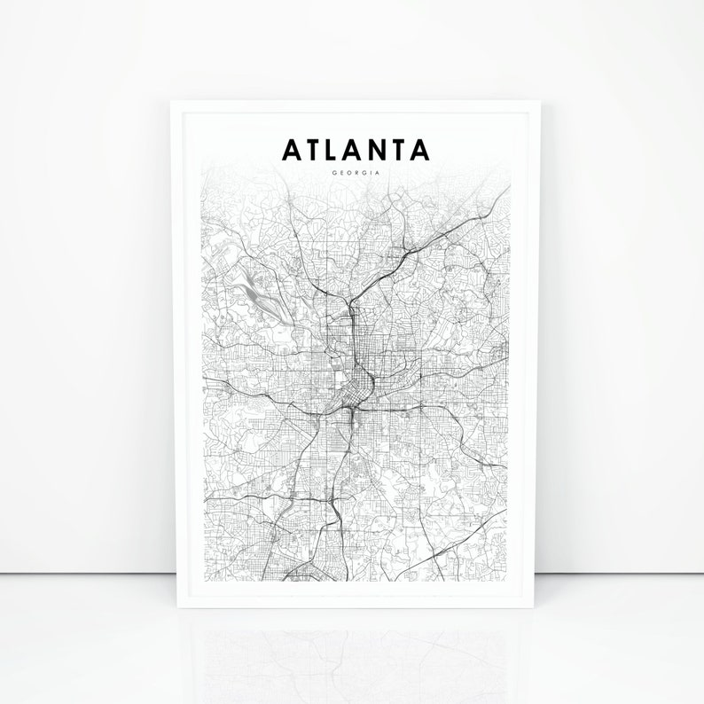 Road Map Of Atlanta Georgia.Atlanta Map Print Georgia Ga Usa Map Art Poster Fulton Dekalb City Street Road Map Print Nursery Room Wall Office Decor Printable Map
