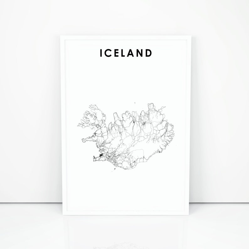 picture about Printable Iceland Map identify Iceland Map Print, State Street Map Poster, Ísland Reykjavík Map Artwork, Nursery Area Wall Office environment Decor, Printable Map