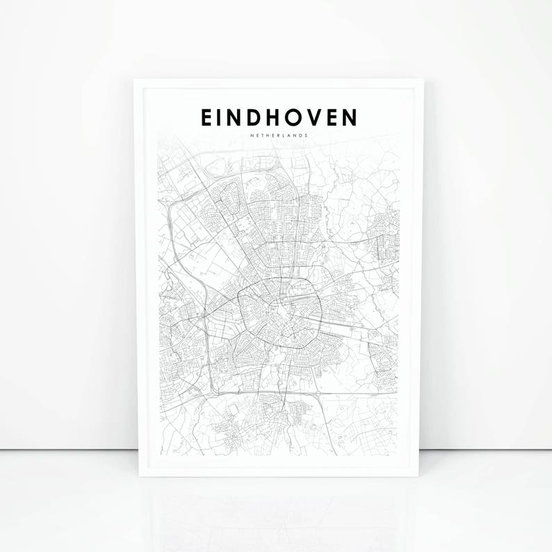 Eindhoven Map Print, Netherlands Map Art Poster, City Street Road Map  Print, Nursery Room Wall Office Decor, Printable Map
