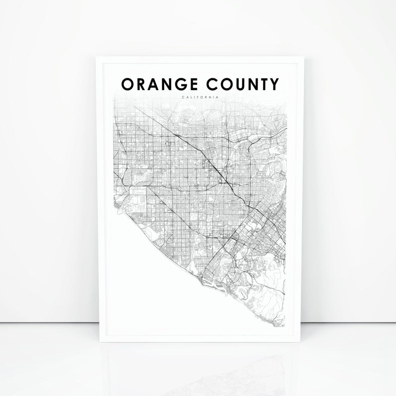 picture relating to Printable Map of Orange County Ca named Orange County Map Print, California CA United states Map Artwork Poster, Town Road Highway Map Print, Nursery Place Wall Business Decor, Printable Map
