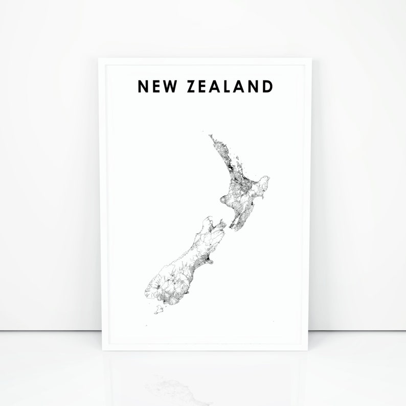 photo relating to New Zealand Map Printable known as Contemporary Zealand Map Print, Highway Map Artwork Poster, NZ Wellington Auckland Region Map Artwork, Nursery House Wall Office environment Decor, Printable Map
