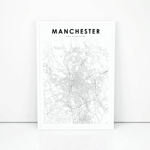 Nh Usa Map.Manchester Map Print New Hampshire Nh Usa Map Art Poster Etsy