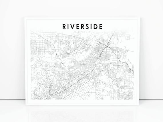 Riverside Map Print California CA USA Map Art Poster City | Etsy