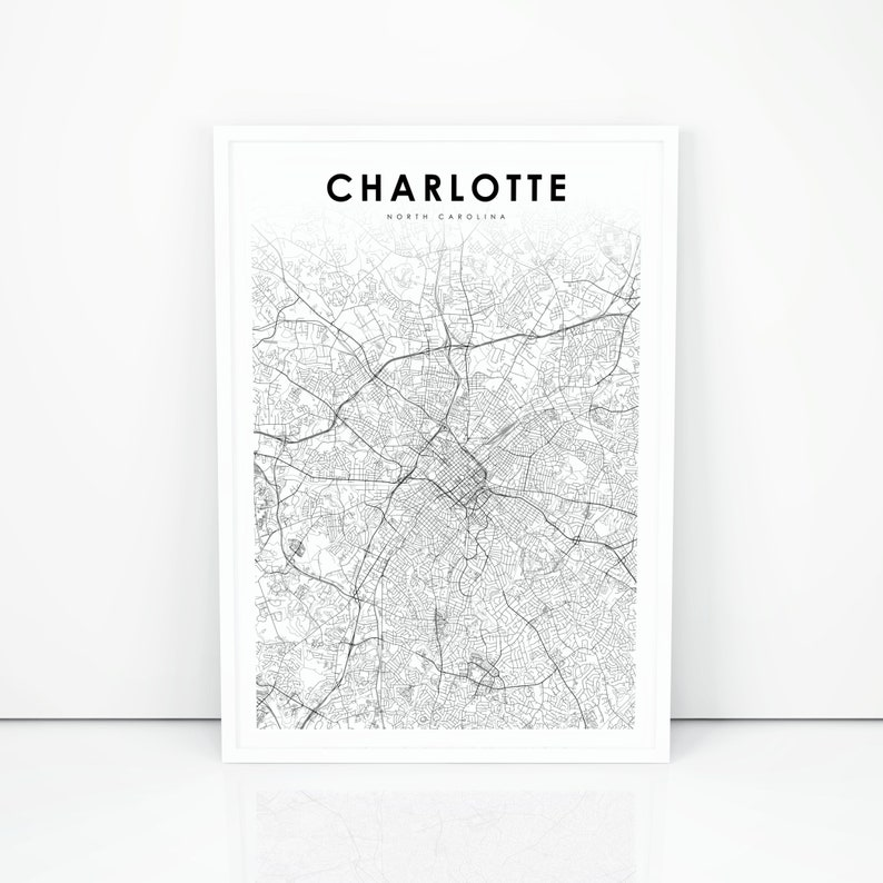photograph relating to Printable Map of North Carolina known as Charlotte Map Print, North Carolina NC United states of america Map Artwork Poster, Metropolis Road Street Map Print, Nursery Place Wall Workplace Decor, Printable Map
