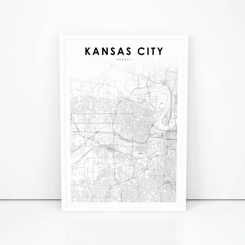 Kansas City Map Print, Kansas KS USA Map Art Poster, City Street Road Map  Print, Nursery Room Wall Office Decor, Printable Map
