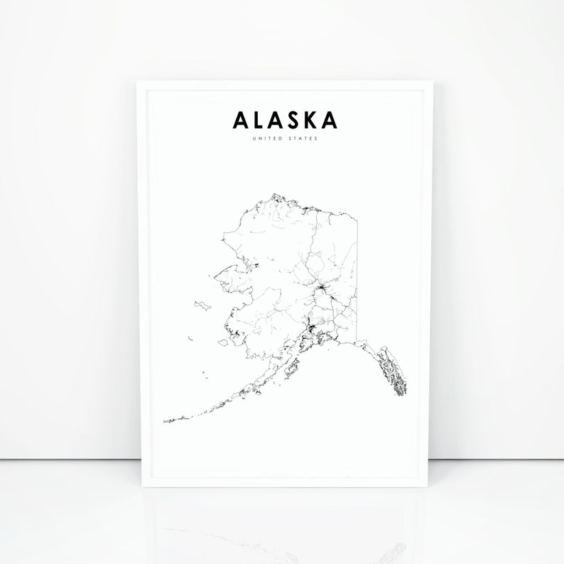 picture about Printable Map of Alaska known as Alaska Map Print, Country Highway Map Print, AK United states United Suggests Anchorage Map Artwork Poster, Nursery House Wall Place of work Decor, Printable Map