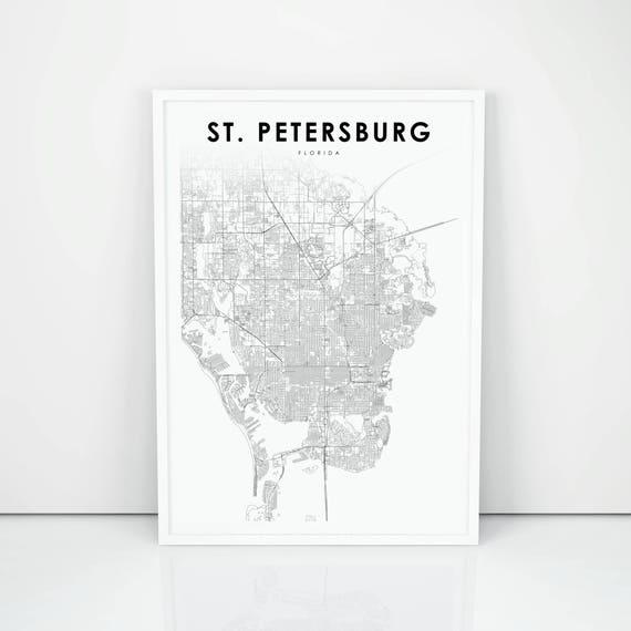 Florida Usa Map.St Petersburg Map Print Florida Fl Usa Map Art Poster City Etsy