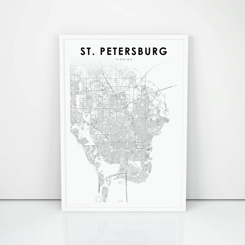 Florida Map Printable.St Petersburg Map Print Florida Fl Usa Map Art Poster City Street Road Map Print Nursery Room Wall Office Decor Printable Map