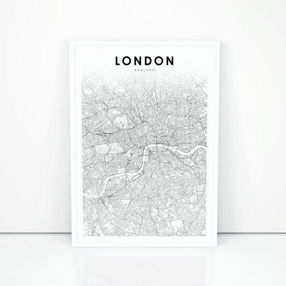 London Map Printable.Downtown London Map Print England Uk United Kingdom Map Art Etsy