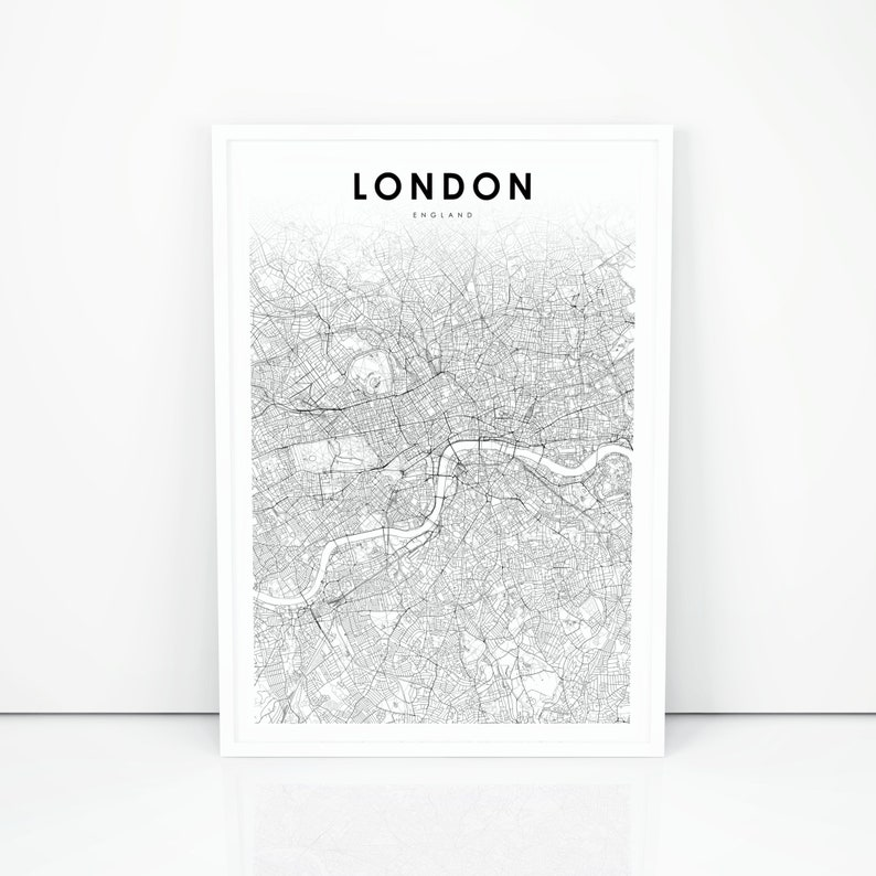 United Kingdom London Map.Downtown London Map Print England Uk United Kingdom Map Art Poster Street Road Map Print Nursery Room Wall Office Decor Printable Map