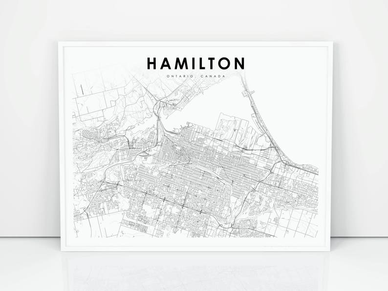 Hamilton Map Print Ontario On Canada Map Art Poster City Etsy