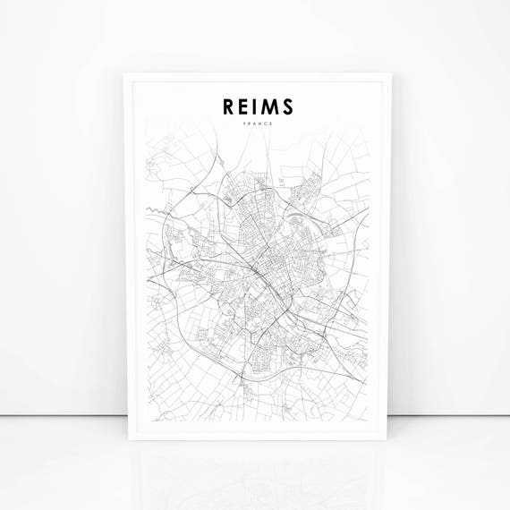 Reims Map Print France Map Art Poster City Street Road Map | Etsy