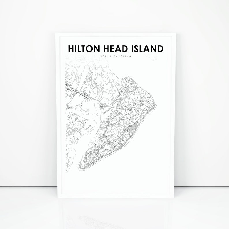 graphic relating to Printable Map of South Carolina identified as Hilton Thoughts Island Map Print, South Carolina SC United states of america Map Artwork Poster, Town Road Highway Map Print, Nursery Space Wall Place of work Decor Printable Map