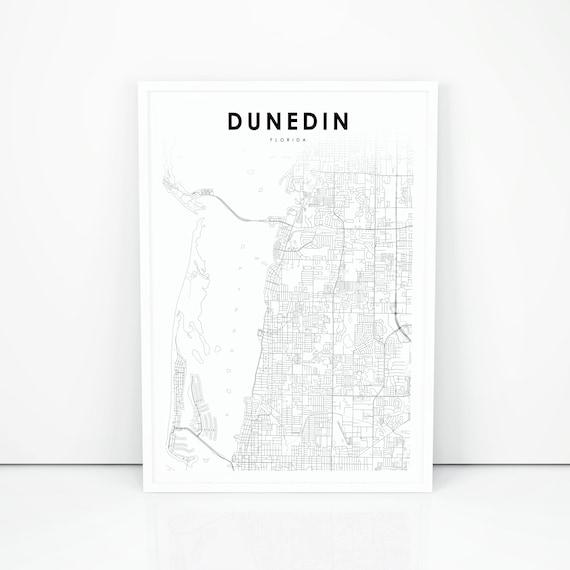 Dunedin Map Print Florida Fl Usa Map Art Poster City Road Etsy