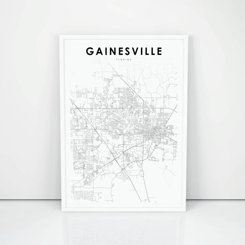 Gainesville Map Of Florida.Gainesville Map Print Florida Fl Usa Map Art Poster City Etsy