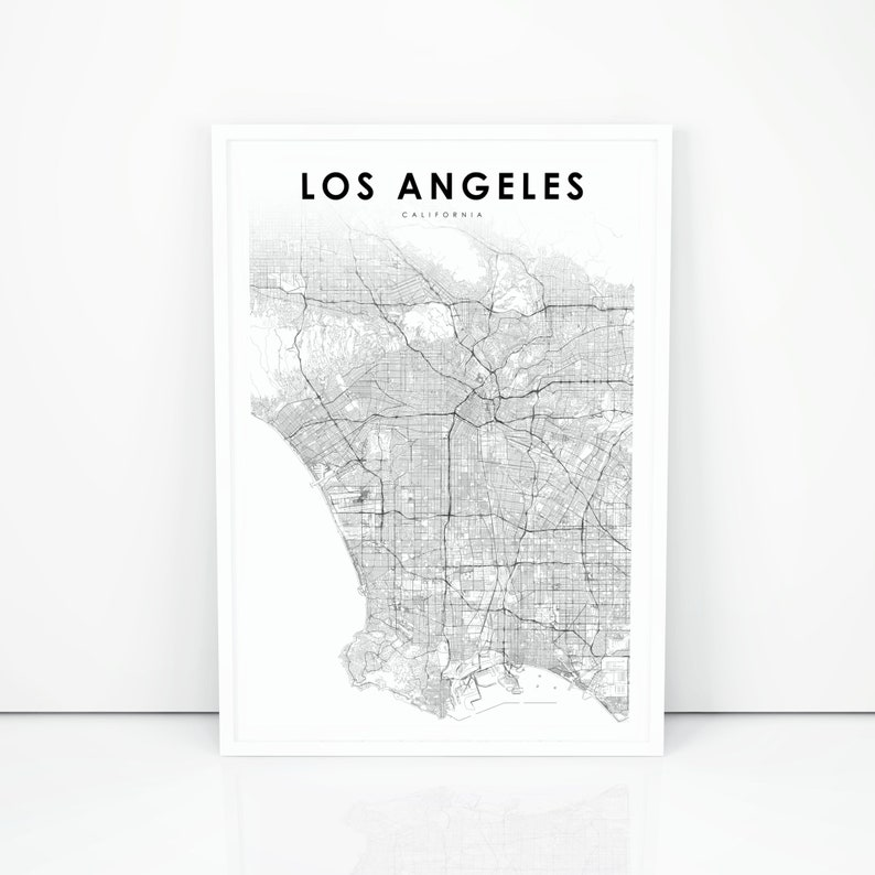 photograph relating to Printable Map of Los Angeles called Los Angeles Map Print, California CA United states Map Artwork Poster, LA County Metropolis Highway Highway Map Print, Nursery Place Wall Office environment Decor, Printable Map