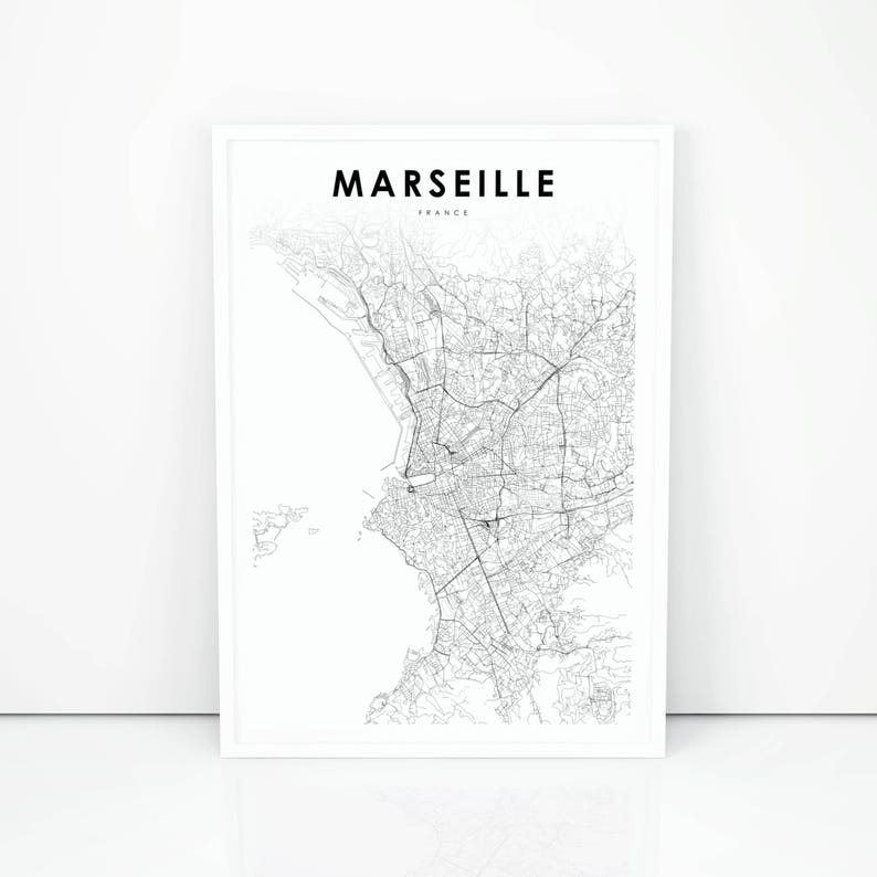 Marseille Map Of France.Marseille Map Print France Map Art Poster City Street Road Etsy
