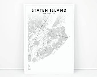 staten island map print new york city nyc ny usa map art poster city street road map print nursery room wall office decor printable map