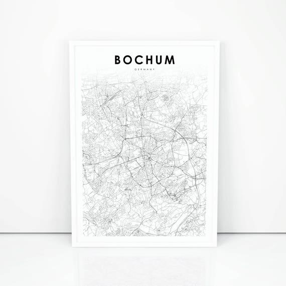 Bochum Map Print Germany Map Art Poster City Street Road Map Etsy