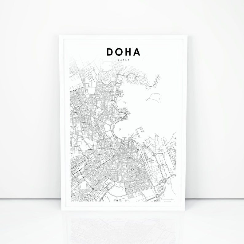 photo regarding Printable Map of Middle East named Doha Map Print, Qatar Map Artwork Poster, Arab Center East Map Artwork, Town Road Highway Map Print, Nursery Area Wall Office environment Decor, Printable Map