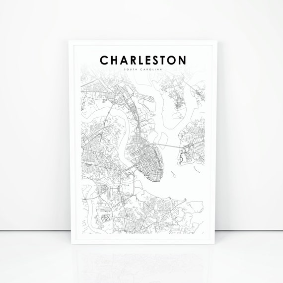 Charleston Map Print South Carolina Sc Usa Map Art Poster Etsy