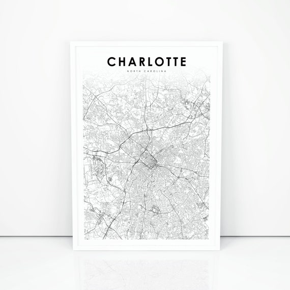 photograph about Printable Map of North Carolina called Charlotte Nearby Map Print, North Carolina NC United states of america Map Artwork Poster, Metropolis Highway Street Map Print, Nursery Area Wall Workplace Decor, Printable Map
