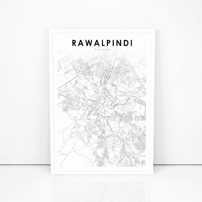 Rawalpindi Map Print, Pakistan Map Art Poster, Pindi Punjab City Street  Road Map Print, Nursery Room Wall Office Decor, Printable Map