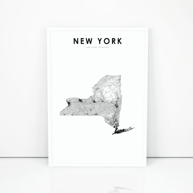 image regarding Printable Maps of New York State identify Fresh York Map Print, Region Street Map Print, NY United states United Claims Map Artwork Poster, Nursery Space Wall Business Decor, Printable Map