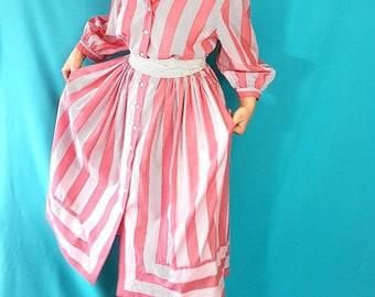 Stunning maxi dress || Pink and white stripes || Fits 8 to 10 || Women vintage || 90s dress || Peasant dress