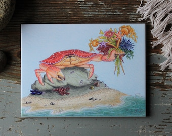 A Bouquet In A Pinch 6x8 Easel Backed Tile - Crab Ocean Beach Seattle PNW Puget Sound