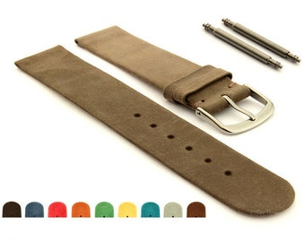ae1931329 12mm 14mm 16mm 18mm 20mm 22mm Suede Genuine Leather Watch Strap Band Malaga  Brown Blue Red Orange Green Yellow Grey, SS. Buckle, Spring Bars