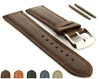 92aba40bb29 18mm 19mm 20mm 21mm 22mm 24mm Genuine Leather Watch Strap Band TWISTER  Matching Stitching SS. Buckle Spring Bars (Brown