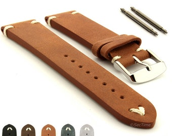 580cd527801 18mm 20mm 22mm 24mm Genuine Leather Vintage Style Watch Strap Band  Blacksmith SS. Buckle Spring Bars - Brown