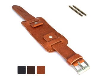 99bb8a0a5 18mm 20mm 22mm 24mm Black Brown Men's Genuine Leather Watch Strap Band  Crimea Wrist Cuff Pad Buckle Pad Stainless Steel Buckle Spring Bars