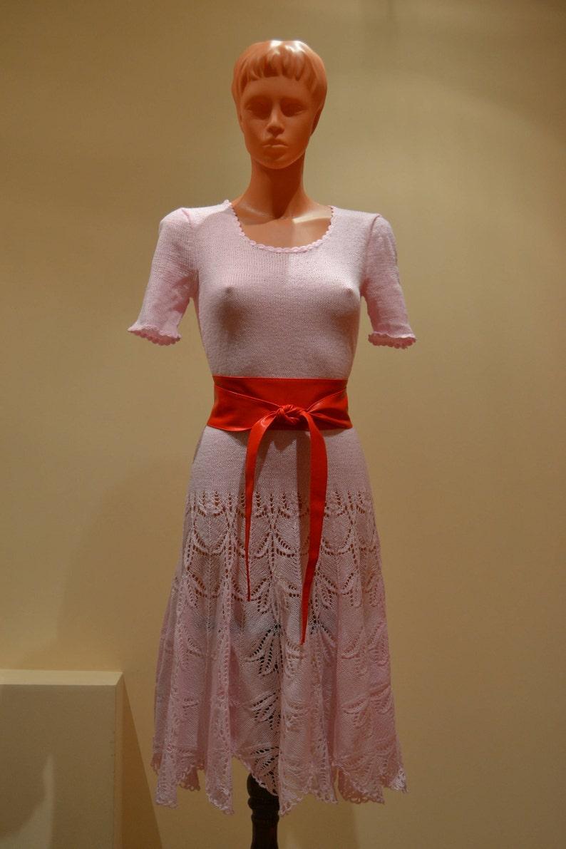 677f2d22b4e Hand knit women short sleeve dress Knitted dress pink Summer