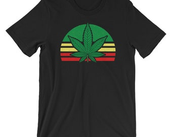 Peace Sign Pot Leaf Logo Cannabis T-Shirt Stoner Hippie Marijuana Pot Gas Tee