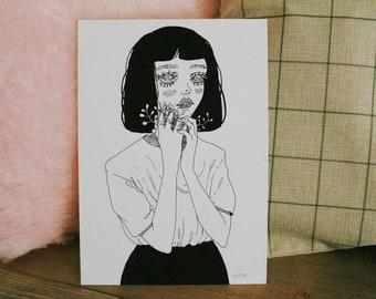 GLICÉE PRINT - don't be scared ink illustration