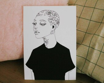 GLICÉE PRINT - all the roses that you gave me ink illustration