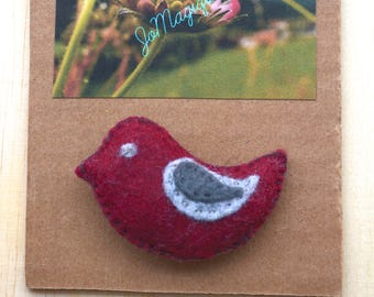 Burgundy - grey felt bird brooch