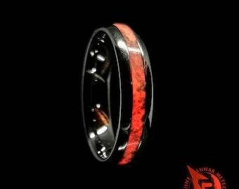 Lunar Meteorite, Dinosaur Bone, Tungsten Ring, Glow Ring, Dinosaur Meteorite Ring, Dinosaur Fossil wedding band, Red Glow Ring,