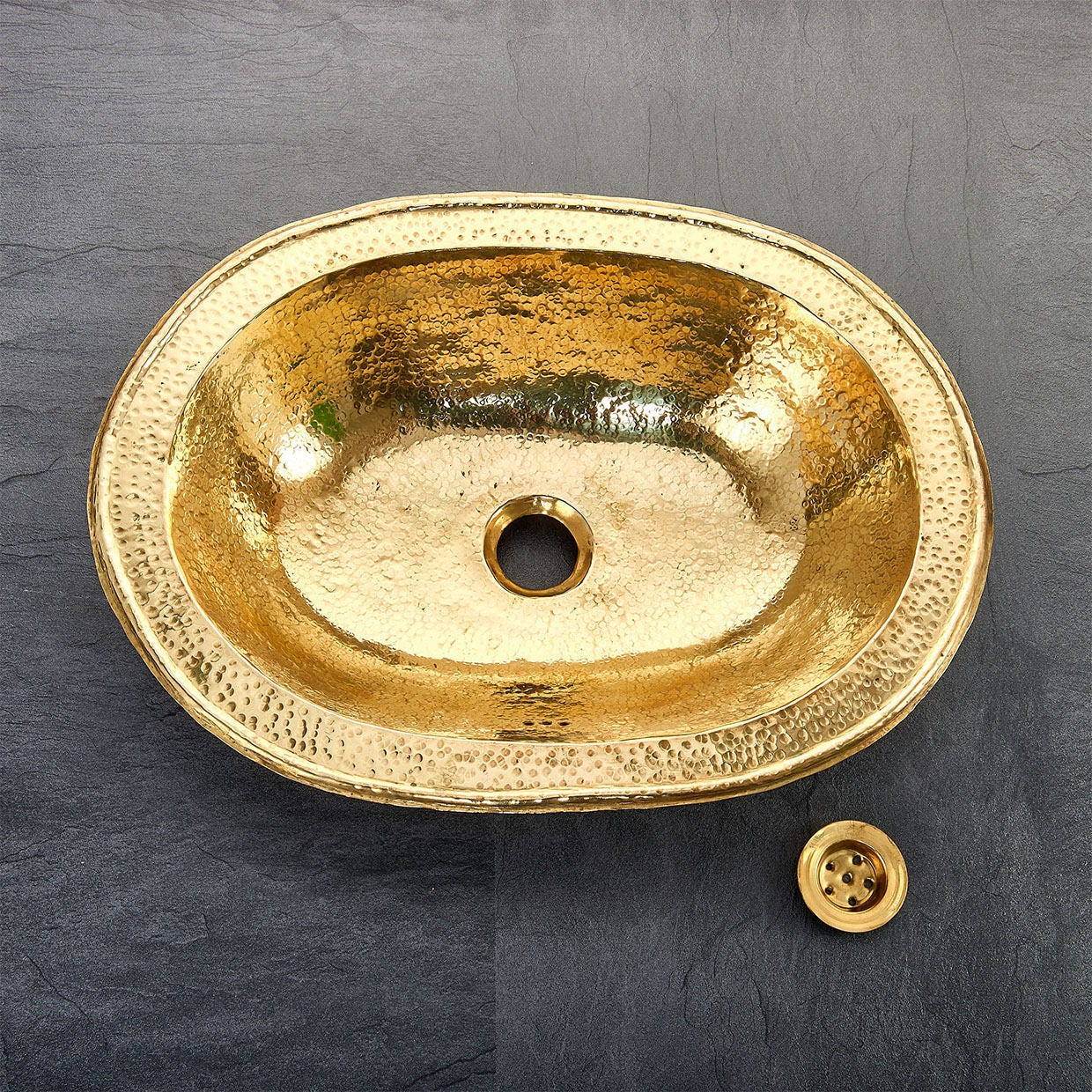 Moroccan Hand Beaten Oval Brass Bathroom Sink Basin with integrated ...