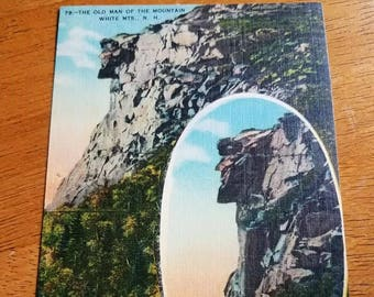 Vintage Linen Postcard Dual View of The Old Man of the Mountain- Franconia Notch New Hampshire