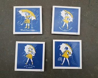 Vintage Morton Salt Coasters- Morton Salt Trivet Plaque Set- featuring Morton Salt Girls