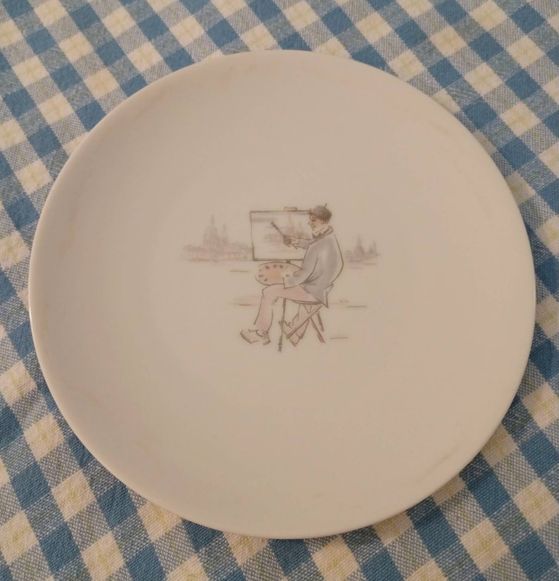 Hutschenruether Selb Lunch Set  Lunch Plate  Tea Cup  Bread and Butter Plate  Bavaria Germany  Pasco  Paris Scenes  1950/'s  Unique!