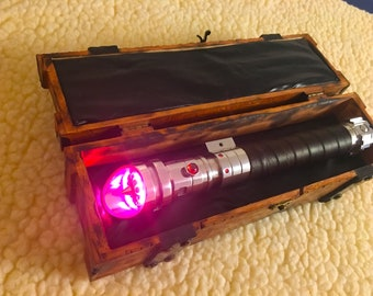 Weathered Star Wars Lightsaber Box Chest for Single Hilts