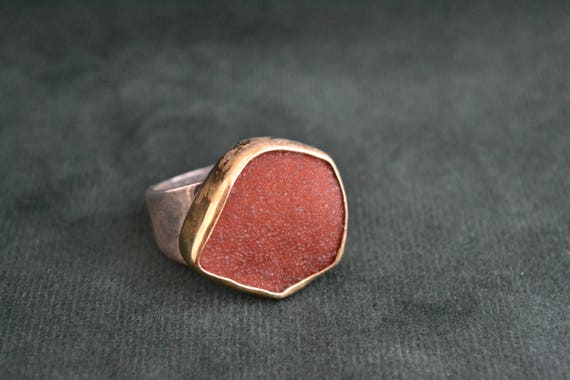 Gift for Her Gorgeous Sterling Silver Ring with Rough Carneol Silver Ring with 18K Gold-filled Setting and Rough Gemstone