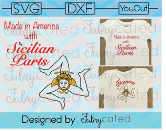 SVG DXF Made In America With Sicilian Parts Personalization Available Triskelion Trinacria